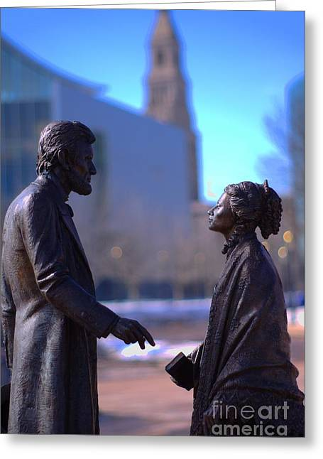 Harriet Beecher Stowe Greeting Cards - Abe and Harriet Greeting Card by Ray Konopaske