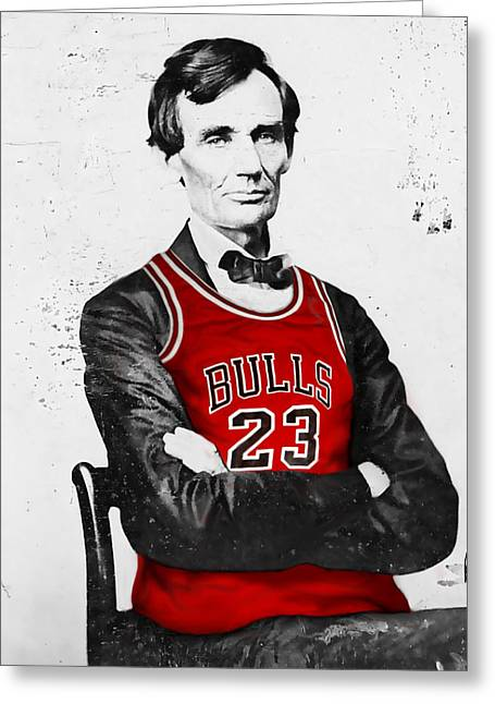 Grant Park Greeting Cards - Abe Lincoln in a Bulls Jersey Greeting Card by Roly Orihuela