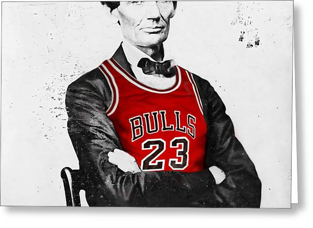 Abe Lincoln in a Bulls Jersey Greeting Card by Roly Orihuela