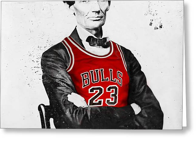 Michael Jordan Greeting Cards - Abe Lincoln in a Bulls Jersey Greeting Card by Roly Orihuela