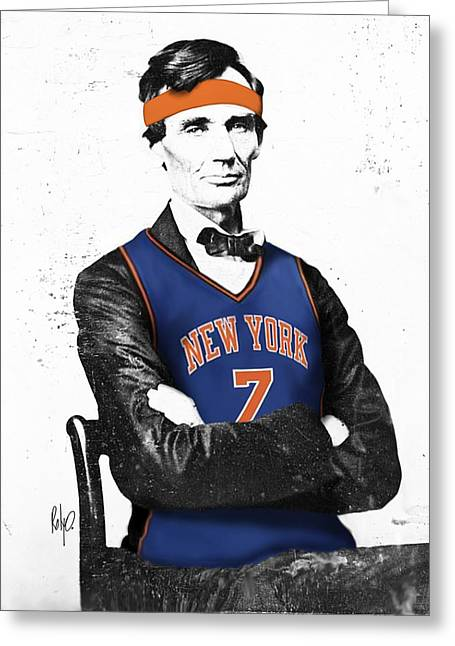 New York Knicks Digital Art Greeting Cards - Abe Lincoln in a Carmelo Anthony New York Knicks Jersey Greeting Card by Roly Orihuela