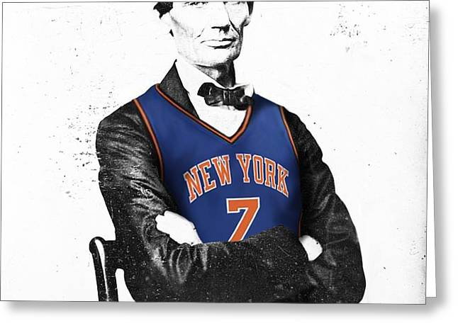 Abe Lincoln in a Carmelo Anthony New York Knicks Jersey Greeting Card by Roly Orihuela