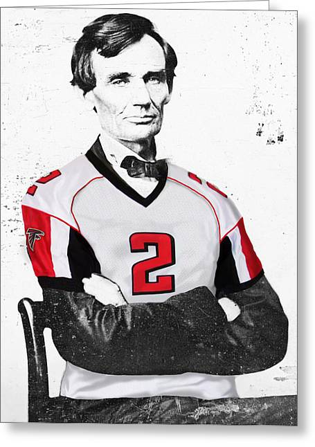 Abraham Lincoln Artwork Greeting Cards - Abe Lincoln in a Matt Ryan Atlanta Falcons Jersey Greeting Card by Roly Orihuela