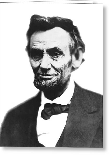 Confederate Flag Greeting Cards - Abe Lincoln Last Portrait  Feb 1865 Greeting Card by Daniel Hagerman