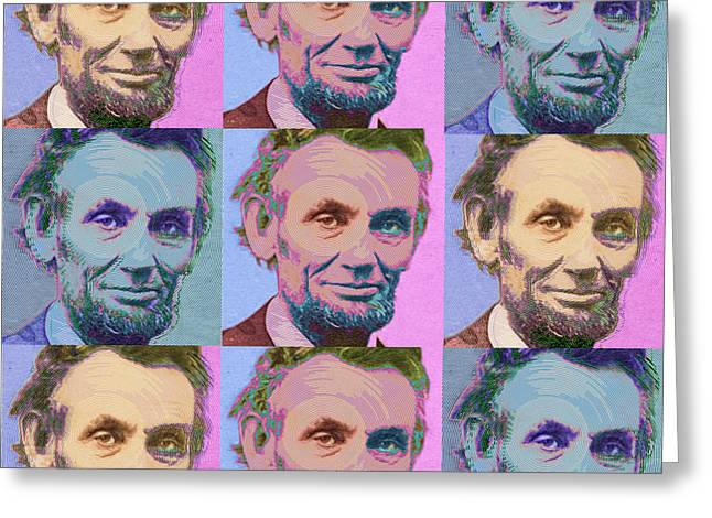 Civil Rights Mixed Media Greeting Cards - Abe Lincoln Smiles Repeat 1 Greeting Card by Tony Rubino