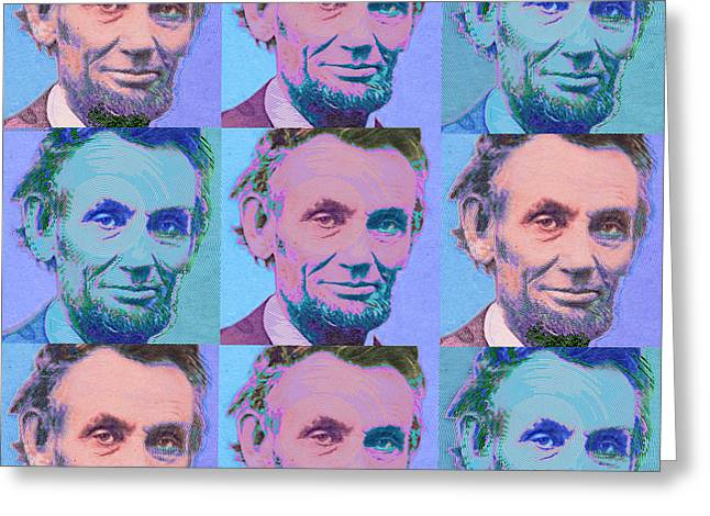 Civil Rights Mixed Media Greeting Cards - Abe Lincoln Smiles Repeat 2 Greeting Card by Tony Rubino