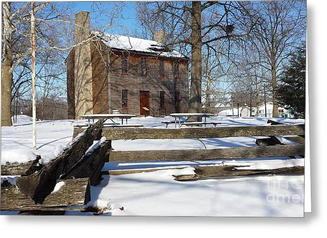 Illinois Rail Splitter Greeting Cards - Abe Lincolns Postville Courthouse Greeting Card by J Anthony Shuff