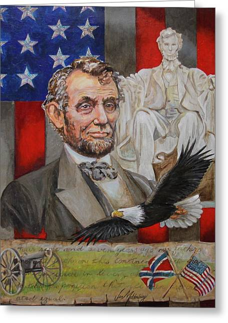 Confederate Flag Paintings Greeting Cards - Abraham Lincoln  Greeting Card by Jan Mecklenburg