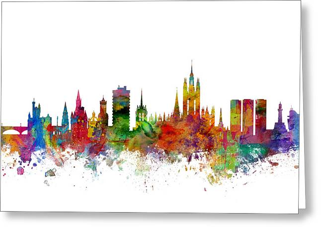 Cityscape Digital Greeting Cards - Aberdeen Scotland Skyline Greeting Card by Michael Tompsett