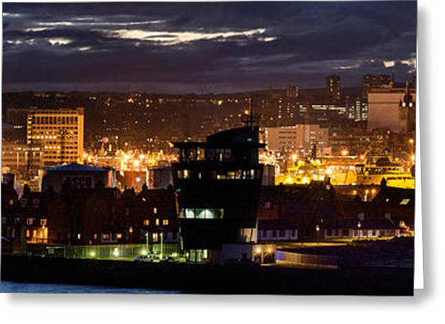 Beach At Night Greeting Cards - Aberdeen Skyline Greeting Card by Veli Bariskan