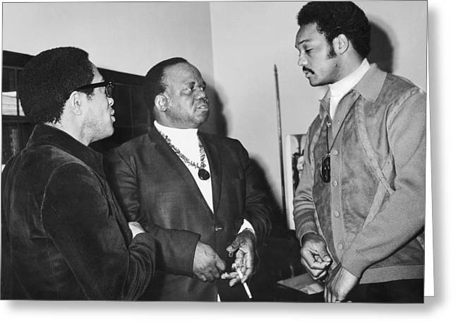 Abernathy And Jesse Jackson Greeting Card by Underwood Archives