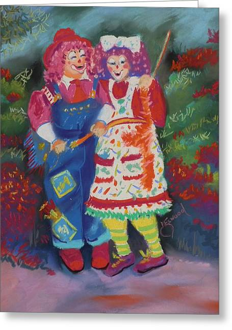 Red Sox Pastels Greeting Cards - Abernethy JOE and Pipsqueak Greeting Card by Jann Elwood