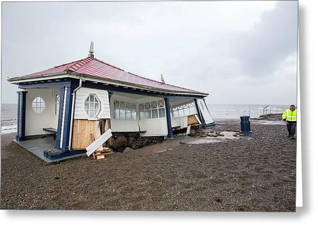 Aberystwyth Storm Damage Greeting Card by Ashley Cooper