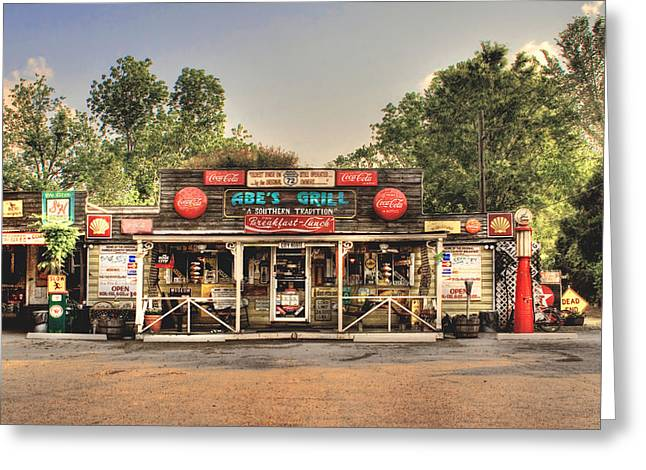 Texaco Sign Greeting Cards - Abes Grill - Fine Southern Food Greeting Card by T Lowry Wilson