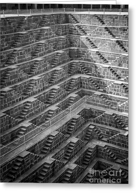 Jaipur Greeting Cards - Abhaneri Stepwell Greeting Card by Inge Johnsson