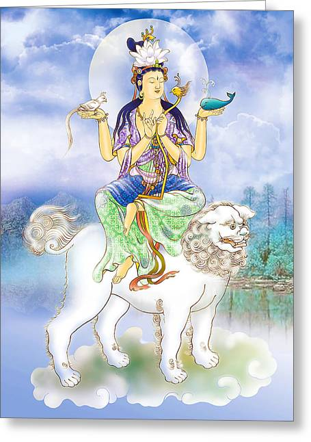 Kuan Greeting Cards - Abhetri Kuan Yin  Greeting Card by Lanjee Chee