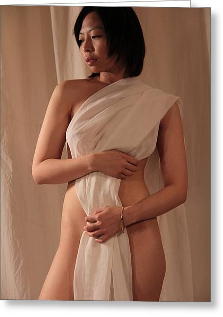 Artistic Beautiful Figure Study Greeting Cards - Abi with drape Greeting Card by Stephen Carver