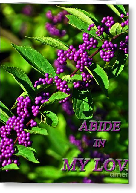 Motivational Poster Greeting Cards - Abide In My Love Greeting Card by Lydia Holly