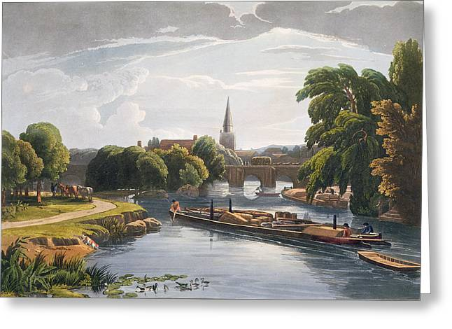 Barge Greeting Cards - Abingdon Bridge And Church, Engraved Greeting Card by William Havell