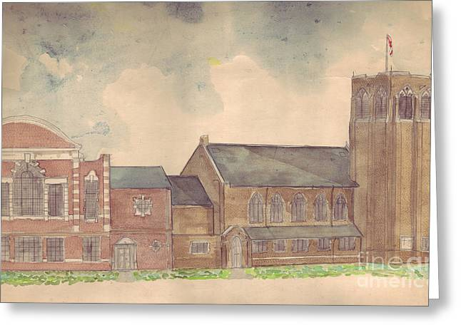 Reform Drawings Greeting Cards - Abington Avenue Congregational Church Greeting Card by Russell Kightley
