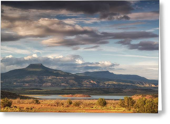 Monsoon Clouds Greeting Cards - Abiquiu New Mexico Pico Pedernal in the morning Greeting Card by Silvio Ligutti