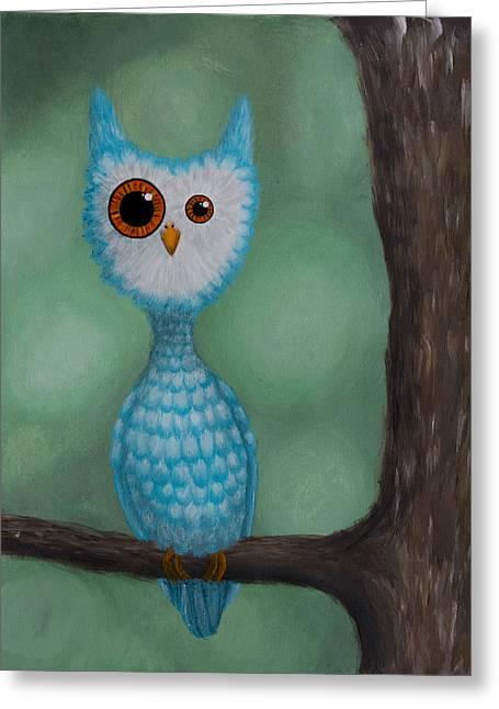 Strange Owl Greeting Cards - Abnormal Owl Greeting Card by Lisa Tinsley