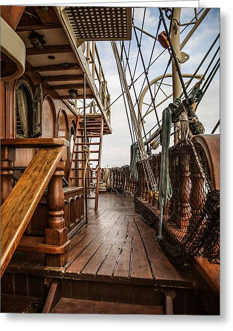 Historic Schooner Greeting Cards - Aboard The Tall Ship Peacemaker Greeting Card by Dale Kincaid