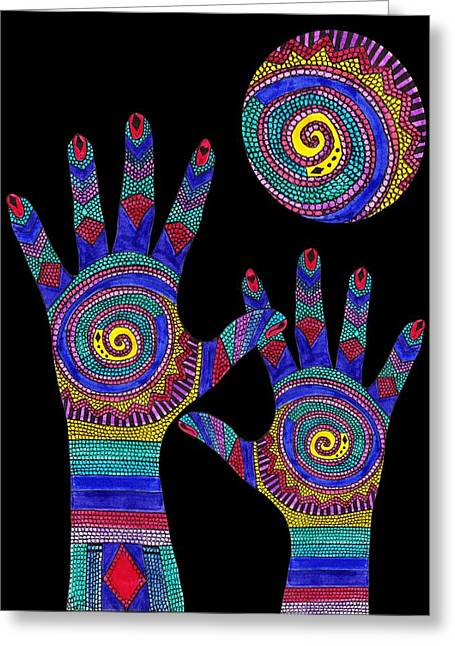 Saint Jean Art Gallery Greeting Cards - Aboriginal Hands to the Sun Greeting Card by Barbara St Jean