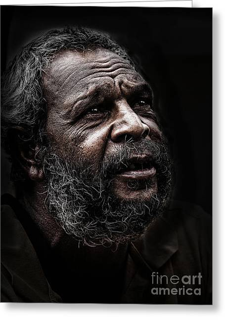 Aborigine Greeting Cards - Aboriginal man Greeting Card by Sheila Smart