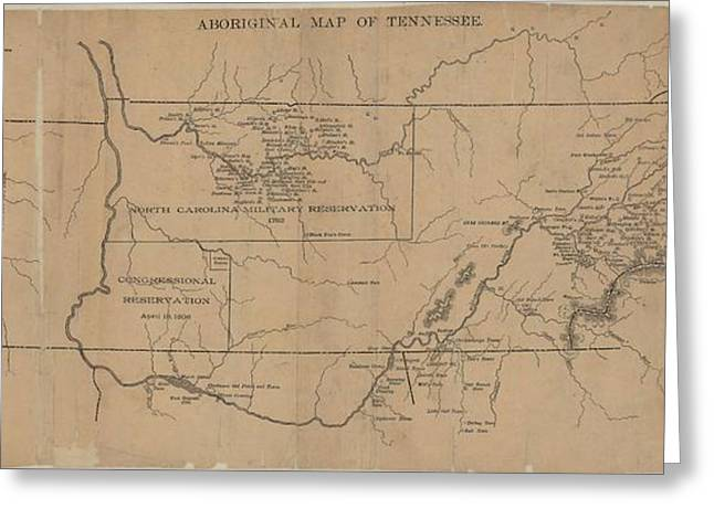 Reservations Drawings Greeting Cards - Aboriginal Map of Tennessee Greeting Card by Cody Cookston