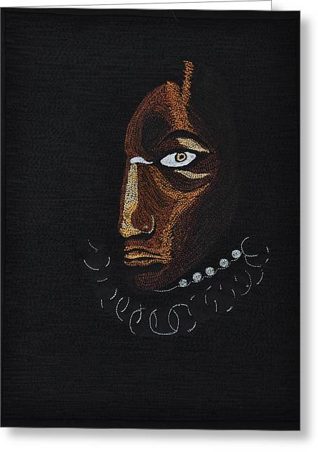Shadows Tapestries - Textiles Greeting Cards - Aboriginal Woman Greeting Card by Jo Baner