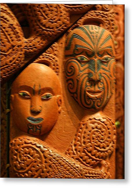 Wooden Sculpture Greeting Cards - Aborigine Carved Faces Greeting Card by Linda Phelps