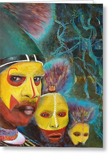 Printing Mixed Media Greeting Cards - Aborigine Greeting Card by Magdalena Walulik