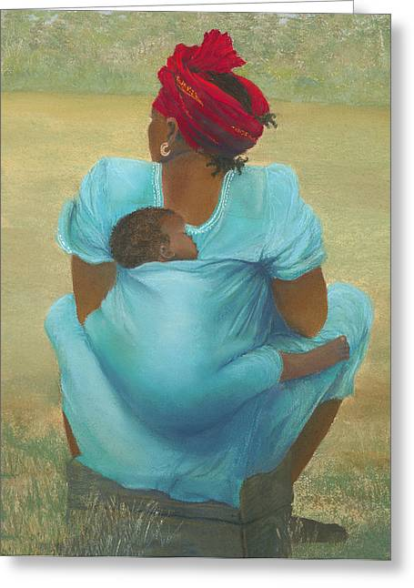 African-american Pastels Greeting Cards - About Color Greeting Card by Martha J Davies