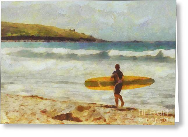 Fine Digital Art Greeting Cards - About to surf Greeting Card by Pixel Chimp