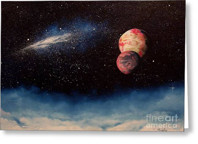 Astros Paintings Greeting Cards - Above Alien Clouds Greeting Card by Murphy Elliott