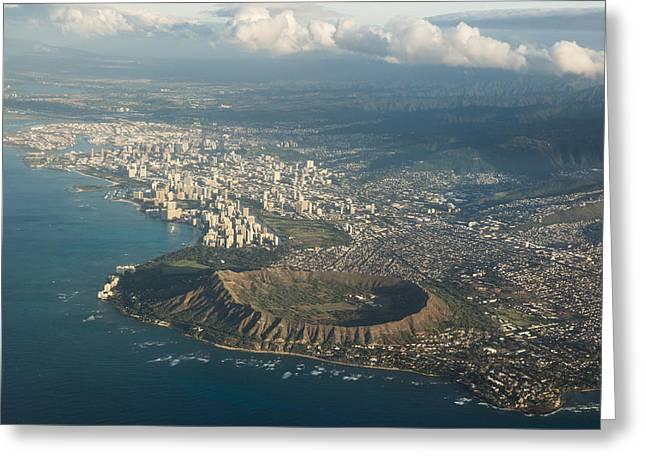 Ocean Vista Greeting Cards - Above Hawaii Greeting Card by Georgia Mizuleva