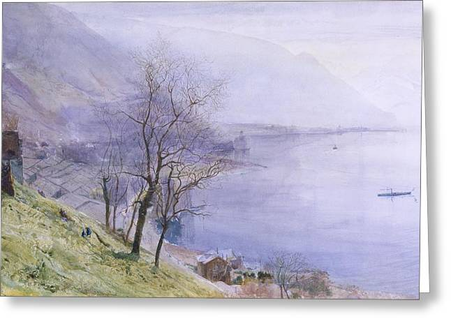 Misty. Drawings Greeting Cards - Above Montreux Greeting Card by John William Inchbold