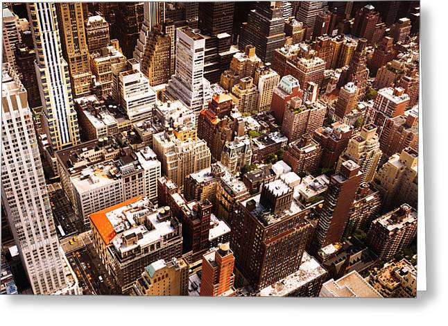 Nyc Rooftop Greeting Cards - Above New York City Greeting Card by Vivienne Gucwa