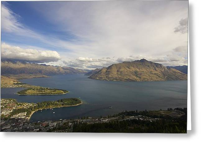 Grey Clouds Greeting Cards - Above Queenstown #2 Greeting Card by Stuart Litoff