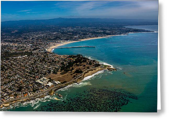 Steamer Lane Greeting Cards - Above Santa Cruz California Looking East Greeting Card by Randy Straka