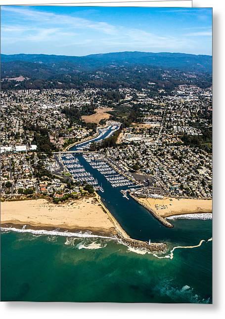 The Santa Cruz Harbor Lighthouse Greeting Cards - Above Santa Cruz Harbor Greeting Card by Randy Straka