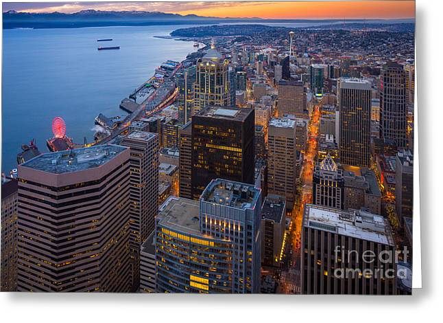 Above Seattle Greeting Card by Inge Johnsson