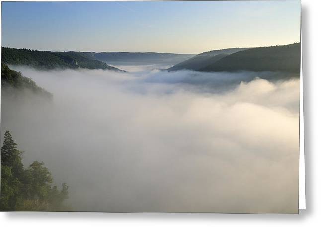 Above The Clouds Greeting Cards - Above the clouds - morning mist in the valley Greeting Card by Matthias Hauser