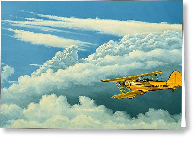 Biplane Greeting Cards - Above The Clouds-Waco Biplane Greeting Card by Paul Krapf
