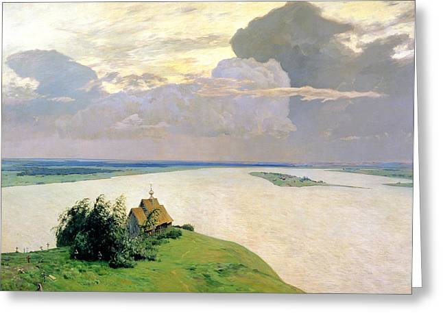 Above The Clouds Greeting Cards - Above The Eternal Peace Greeting Card by Isaak Ilyich Levitan