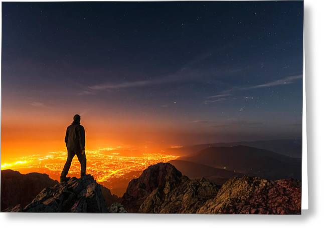 Headlight Greeting Cards - Above the Night Greeting Card by Evgeni Dinev
