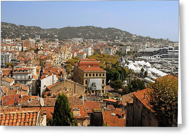 Famous Cities Greeting Cards - Above the roofs of Cannes Greeting Card by Christine Till