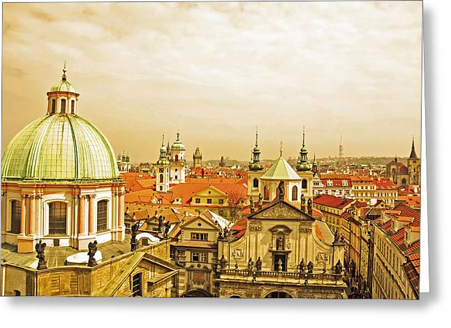 Czech Pyrography Greeting Cards - above the roofs of Prague Greeting Card by Steffen Schumann