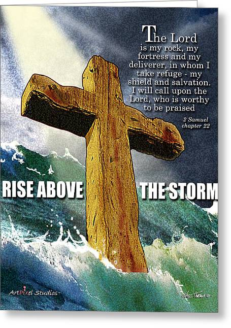Bible Mixed Media Greeting Cards - Above The Storm Greeting Card by Nate Owens
